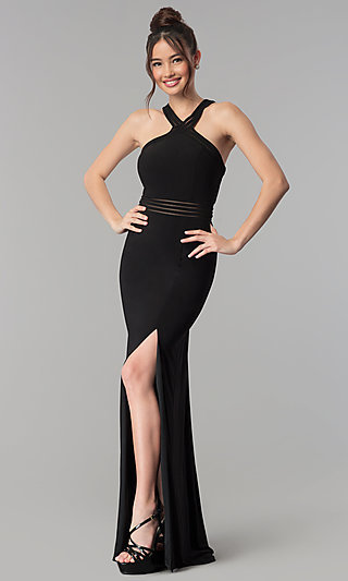Long Open-Back Prom Dress with Illusion Paneling