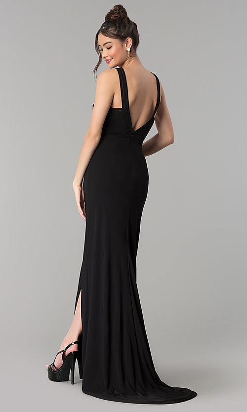 Image of long open-back prom dress with illusion paneling. Style: CLA-3483 Back Image