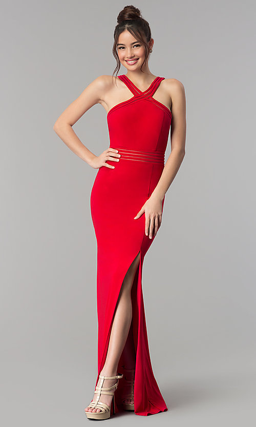 Image of long open-back prom dress with illusion paneling. Style: CLA-3483 Detail Image 1