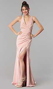 Image of long formal prom dress with crossing back straps. Style: CLA-3456 Detail Image 3