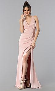 Image of long formal prom dress with crossing back straps. Style: CLA-3456 Front Image