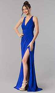 Image of long formal prom dress with crossing back straps. Style: CLA-3456 Detail Image 4