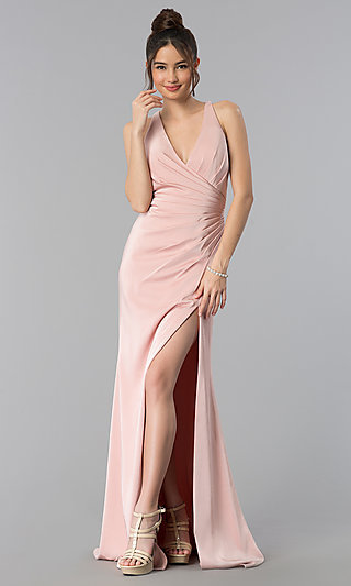 Long Formal Prom Dress with Crossing Back Straps