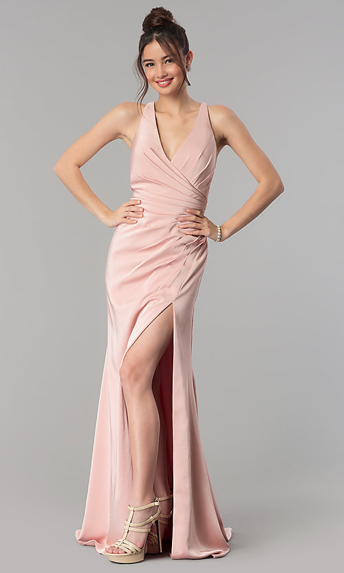 Image of long formal prom dress with crossing back straps. Style: CLA-3456 Back Image