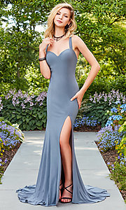 Image of long sweetheart prom dress with caged open back.  Style: CLA-3458 Detail Image 3