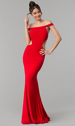 Long Off-the-Shoulder Jersey Prom Dress