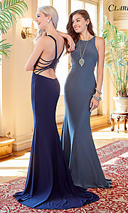 Image of high-neck long jersey prom dress with caged back. Style: CLA-3459 Detail Image 2