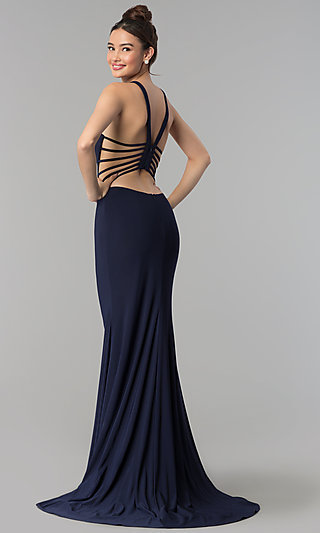 High-Neck Long Jersey Prom Dress with Caged Back