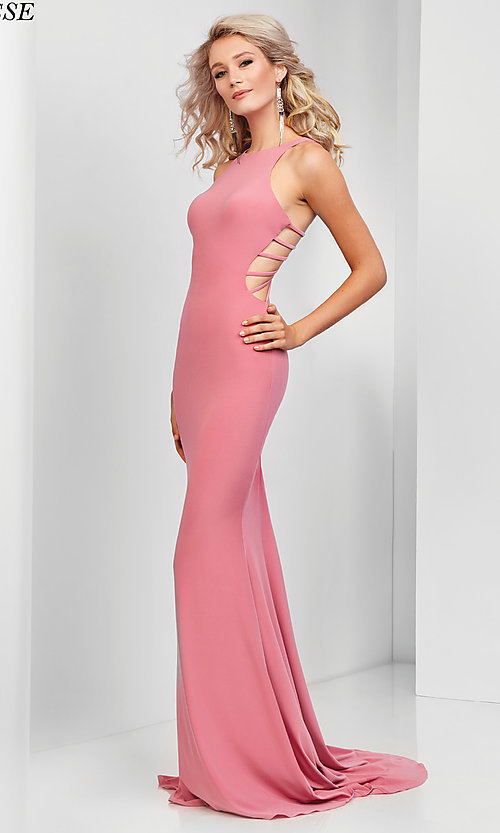 Image of high-neck long jersey prom dress with caged back. Style: CLA-3459 Detail Image 3