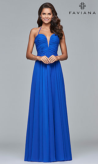 Long Faviana Prom Dress with Ruching and Corset Lace-Up Back