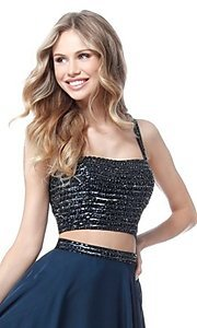 Image of beaded-top long two-piece Sherri Hill prom dress. Style: SH-51688 Detail Image 1