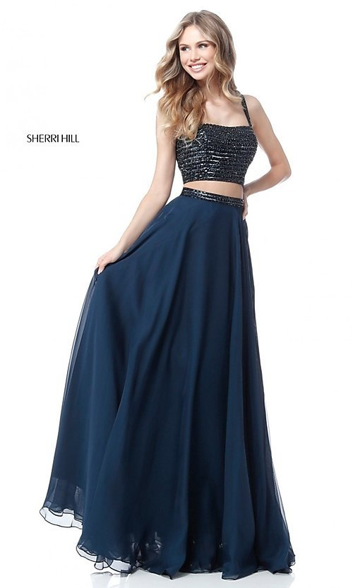 Image of beaded-top long two-piece Sherri Hill prom dress. Style: SH-51688 Front Image