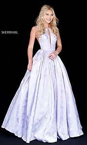 Image of illusion Sherri Hill long floral-print prom dress. Style: SH-51703 Front Image