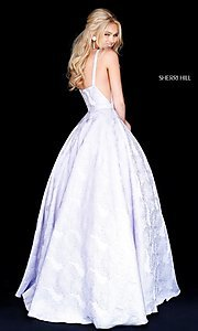 Image of illusion Sherri Hill long floral-print prom dress. Style: SH-51703 Back Image