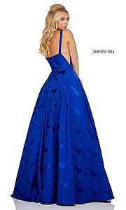 Image of illusion Sherri Hill long floral-print prom dress. Style: SH-51703 Detail Image 6