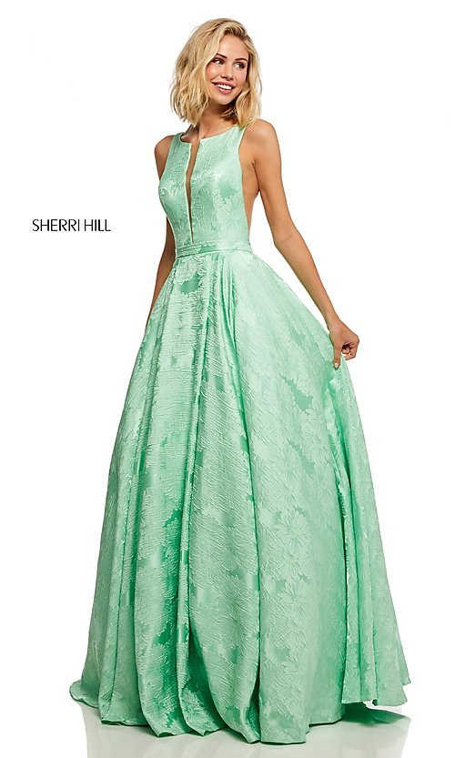 Image of illusion Sherri Hill long floral-print prom dress. Style: SH-51703 Detail Image 3