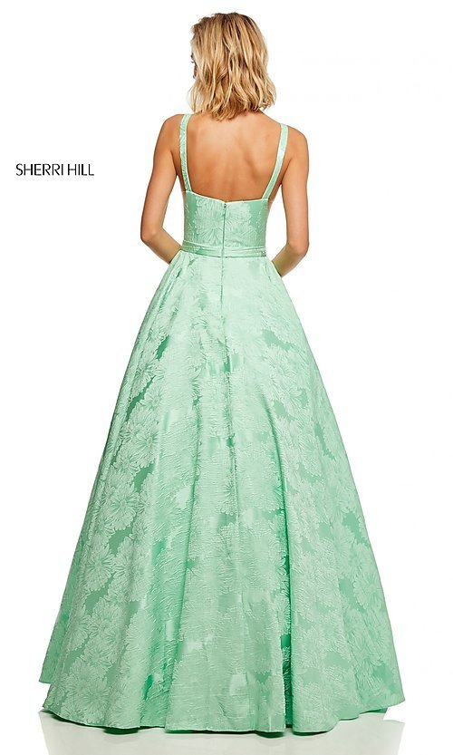 Image of illusion Sherri Hill long floral-print prom dress. Style: SH-51703 Detail Image 4