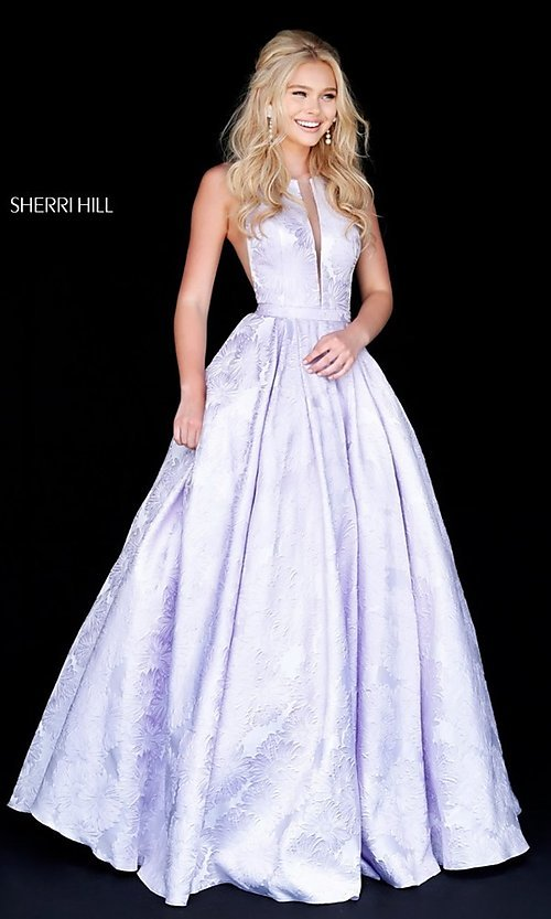 Long Sherri Hill Floral-Print Illusion Prom Dress