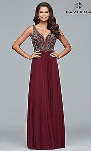 Image of long sleeveless open-back a-line Faviana prom dress. Style: FA-10017 Front Image
