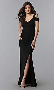 Image of cold-shoulder empire-waist long black prom dress. Style: EM-COA-1606-001 Front Image