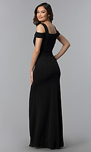 Image of cold-shoulder empire-waist long black prom dress. Style: EM-COA-1606-001 Back Image