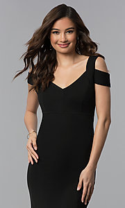 Image of cold-shoulder empire-waist long black prom dress. Style: EM-COA-1606-001 Detail Image 1