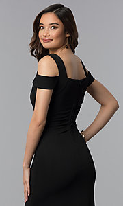 Image of cold-shoulder empire-waist long black prom dress. Style: EM-COA-1606-001 Detail Image 2