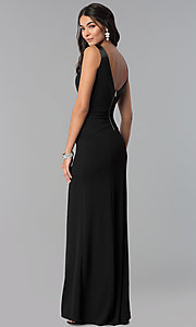 Image of long black decolletage-v-neck formal dress. Style: EM-CPS-1606-001 Back Image