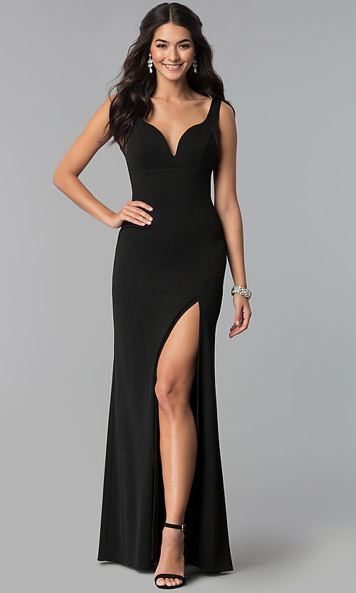 Image of long black decolletage-v-neck formal dress. Style: EM-CPS-1606-001 Front Image