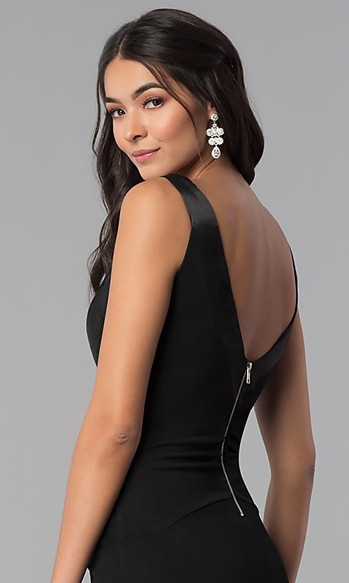 Image of long black decolletage-v-neck formal dress. Style: EM-CPS-1606-001 Detail Image 2