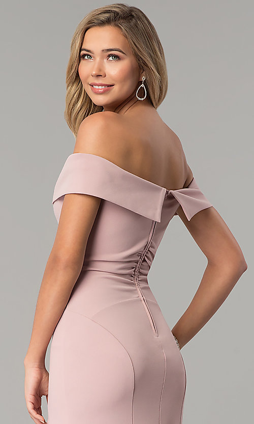 Image of rose off-the-shoulder Emerald Sundae prom dress. Style: EM-CSK-3405-630 Detail Image 2