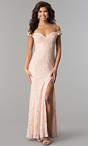 Image of formal off-the-shoulder long lace prom dress. Style: LP-PL-24500 Detail Image 1