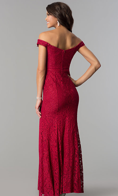 Image of formal off-the-shoulder long lace prom dress. Style: LP-PL-24500 Back Image