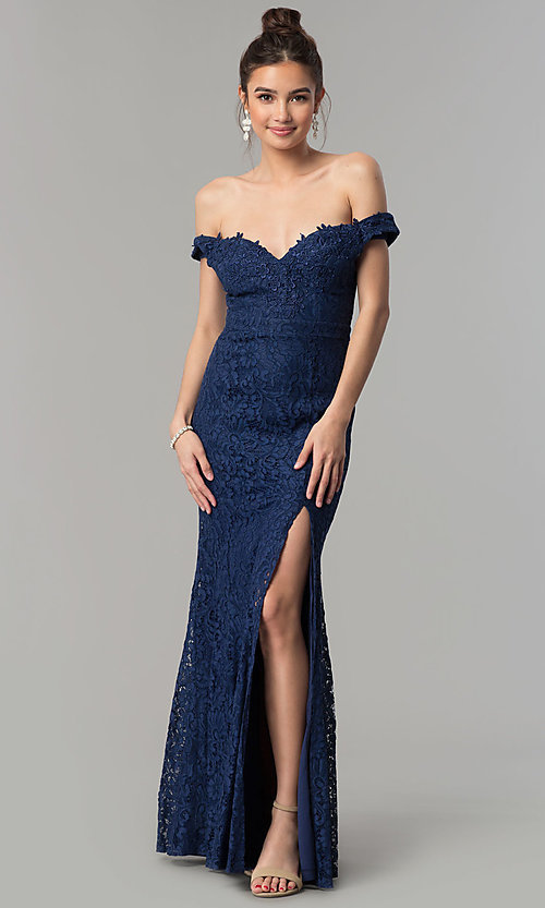 Image of formal off-the-shoulder long lace prom dress. Style: LP-PL-24500 Front Image