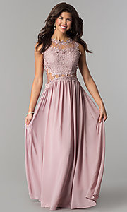Image of formal long prom dress with illusion-lace bodice. Style: SOI-PL-D15669 Front Image