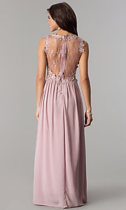 Image of formal long prom dress with illusion-lace bodice. Style: SOI-PL-D15669 Back Image