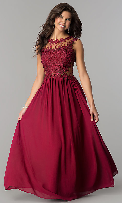 Image of formal long prom dress with illusion-lace bodice. Style: SOI-PL-D15669 Detail Image 2