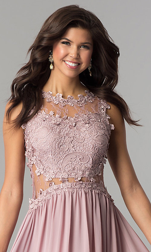 Image of formal long prom dress with illusion-lace bodice. Style: SOI-PL-D15669 Detail Image 1