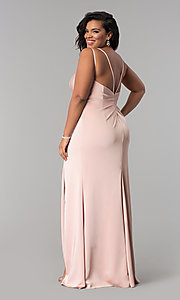 Image of Faviana plus-size formal prom dress in dusty pink. Style: FA-7755E Back Image