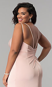 Image of Faviana plus-size formal prom dress in dusty pink. Style: FA-7755E Detail Image 2