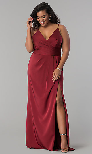 Faviana V-Neck Long Satin Plus-Size Prom Dress