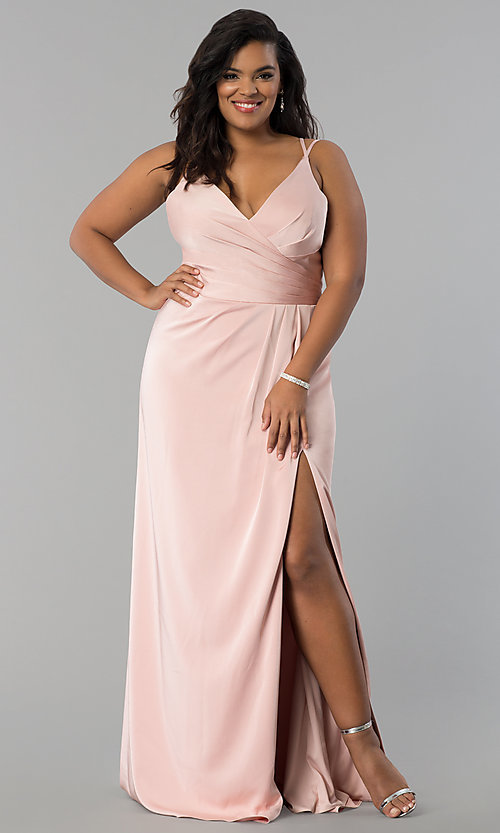Image of Faviana plus-size formal prom dress in dusty pink. Style: FA-7755E Front Image