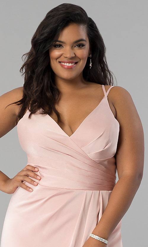 Image of Faviana plus-size formal prom dress in dusty pink. Style: FA-7755E Detail Image 1
