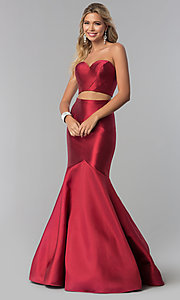 Image of removable-strap two-piece long burgundy prom dress. Style: BL-PL-3186 Front Image