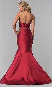 Image of removable-strap two-piece long burgundy prom dress. Style: BL-PL-3186 Back Image