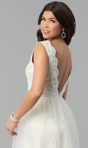 Image of ivory lace-bodice v-neck open-back long prom dress. Style: MT-7698 Detail Image 2