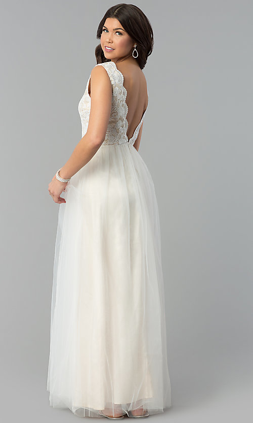 Image of ivory lace-bodice v-neck open-back long prom dress. Style: MT-7698 Back Image