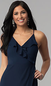 Image of corset-tie faux-wrap long navy blue prom dress. Style: MT-8455 Detail Image 1