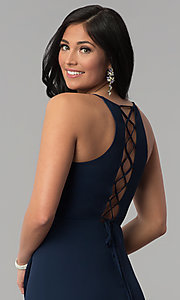 Image of corset-tie faux-wrap long navy blue prom dress. Style: MT-8455 Detail Image 2