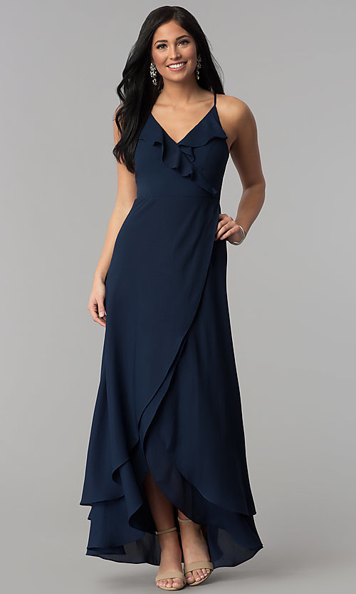 Image of corset-tie faux-wrap long navy blue prom dress. Style: MT-8455 Front Image